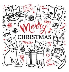 sitting cats hand drawn children sketch vector image