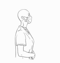 Sketch bald headed woman in profile wearing vector