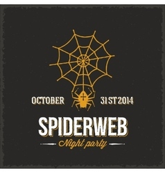 Spider Web Night Halloween Party Card or a vector image