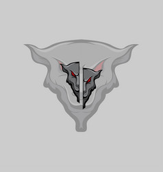 stylist wolves on grey background vector image