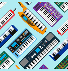 synthesizer piano musical equipment seamless vector image