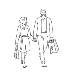 tall man with packages and woman walking with him vector image