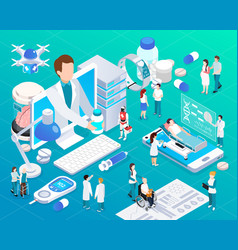 telemedicine glow isometric composition vector image