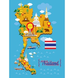 Thailand Map Detail Landmarks vector