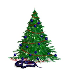 The serpent and the festive fir-tree vector image