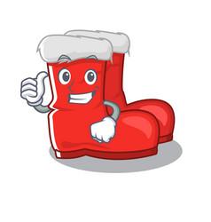 Thumbs up santa boots on cartoon shoe rack vector