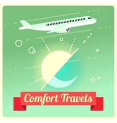 Travel concept with passenger airplane vector