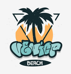 venice beach los angeles california palm tree vector image