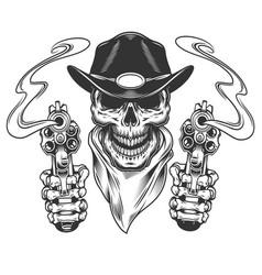 vintage cowboy skull in neck bandana vector image