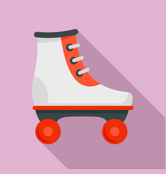 white red roller skates icon flat style vector image