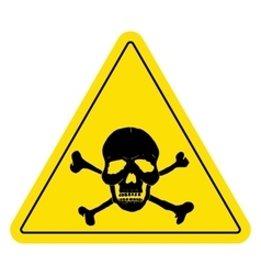 Yellow danger sign with skull vector image