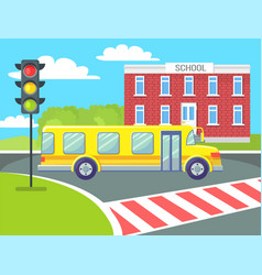 yellow school bus on pedestrian crossing vector image