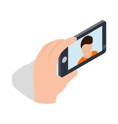 Young man taking selfie photo icon vector image