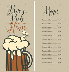 Menu for pub with price list and glass of beer vector