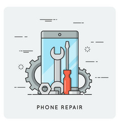 phone repair flat thin line concept vector image