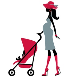 Pregnant woman with child in a stroller vector image
