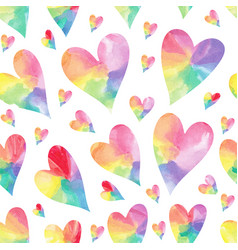 rainbow hearts seamless patter vector image vector image
