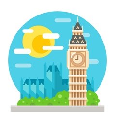 Big Ben clock tower flat design landmark vector image