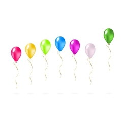 Colorful flying balloons in a row vector image