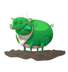 Green mutant pig has lunch vector image vector image