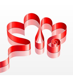 heart shaped red ribbon vector image vector image