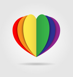 rainbow heart icon logo on white background vector image