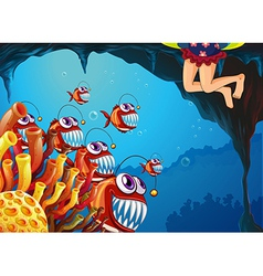 A group of fish watching the young girl vector image vector image