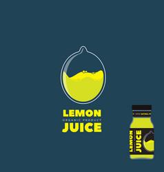 natural lemon juice logo and label vector image