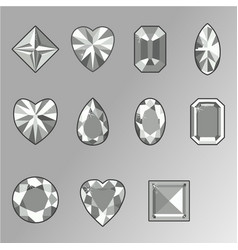 set of diamonds of various shapes vector image