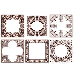 set of vintage frames design elements vector image vector image