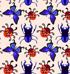 stag beetle butterfly and ladybug seamless pattern vector image vector image