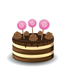Sweet chocolate cake vector image vector image
