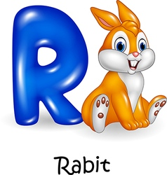 Cartoon of R letter for Rabbit Cartoon vector image