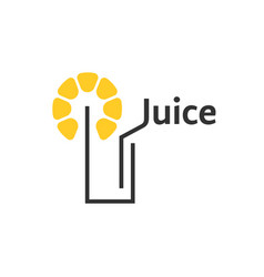 juice icon with abstract glass vector image
