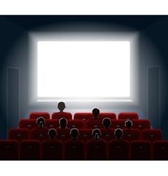 People watching movie at cinema hall Film screen vector image