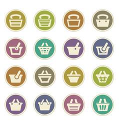 Shopping bascket icons set vector