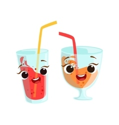 Sweet Drinks In Glasses Kids Birthday Party Happy vector image vector image