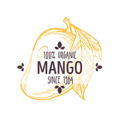 100 percent organic mango label with whole vector image