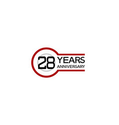 28 years anniversary with circle outline red vector