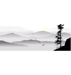 a mountain view with flying birds vector image
