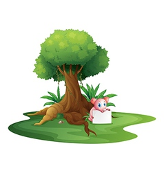 A pig holding an empty signage under the big tree vector