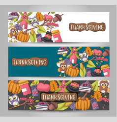 a set of thanksgiving horizontal banners happy vector image