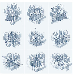 abstract 3d shapes compositions isometric vector image