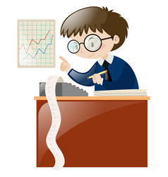 Accountant calculating numbers on desk vector