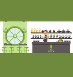 Asian tea shop tea ceremony supplies seller pour vector
