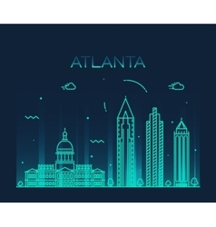 Atlanta skyline trendy linear vector