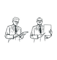 businessman sketch business concept hand drawn vector image