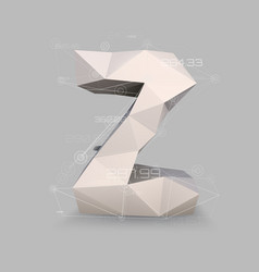 capital latin letter z in low poly style vector image