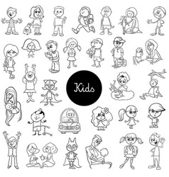 cartoon children black and white set vector image