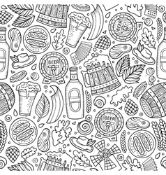 Cartoon cute hand drawn Beer fest seamless pattern vector image